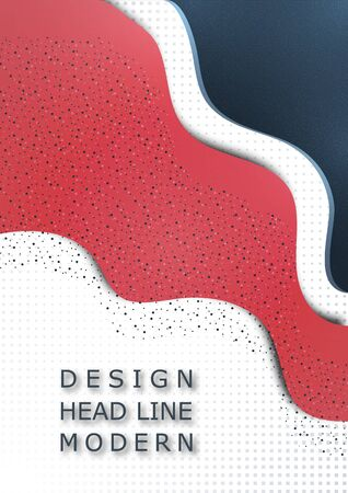 Modern geometric wave pattern background, halftone, dynamic shapes, small particles, vibrant colors. Cover design, poster, flyer, book design. Vector illustration