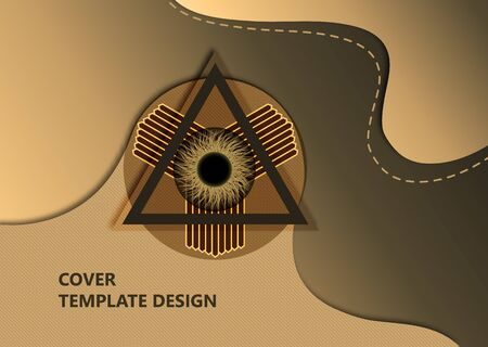 Eye of Providence, pyramid, abstract image on a wavy background. The All-Seeing Eye of God. The symbol of omniscience. Esotericism, mysticism, occultism. Vector illustration.