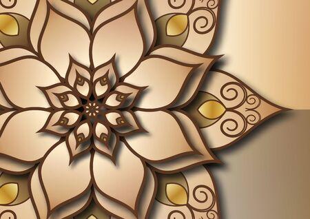 Floral mandala ornament. Ornamental ethnic banner. Islamic, Arab, Indian, Moroccan, Spanish, Turkish, Pakistani, Chinese, mystical, Ottoman motifs. Vector illustration