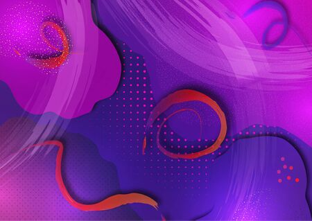 Bright wavy shapes, brush strokes, lots of particles. Corporate design template, presentation element, banner design. Vector illustration