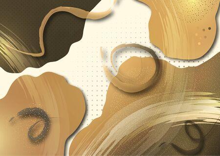 Bright smooth wavy shapes, brush strokes, lots of particles. Corporate design template, presentation element, banner design. Vector illustration Illusztráció