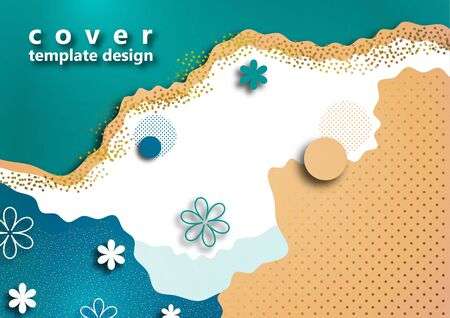 Bright color background. Wavy shapes, floral elements, many dots and particles. Design template for banners, flyers or posters, covers. Vector illustration Illusztráció