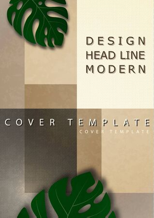 Abstract background from rectangular tiles with monstera leaves, texture, empty place for text. Template for your design. Vector illustration