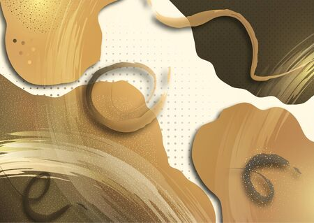 Bright smooth wavy shapes, brush strokes, lots of particles. Corporate design template, presentation element, banner design. Vector illustration Ilustracja