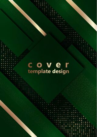 Green geometric shapes on a background of halftones from squares. Inclined stripes and small particles of gold color. Universal template for cover design, business card, flyer. Vector illustration