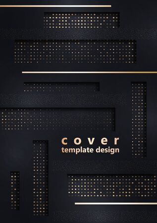 Bright abstract background. Rectangles, stripes, small particles, halftones from squares. Universal template for business design for cover, business card, flyer. Vector illustration