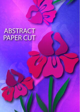 Decorative background with iris flower. Card template design. Vector. 向量圖像