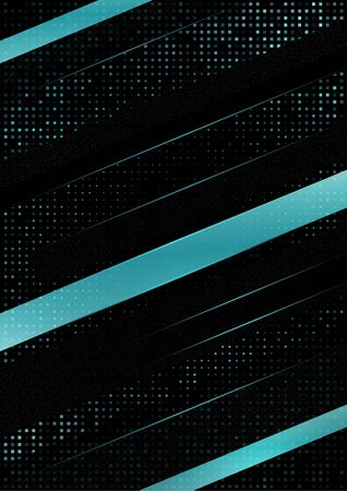 Abstract tilted stripes, halftone squares on a black background. Blue gradient, small particles. Universal template for cover design, business card, flyer. Vector illustration 向量圖像