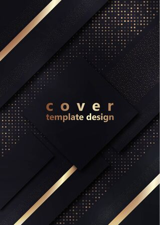 Black geometric shapes on a background of halftones from squares. Inclined stripes and small particles of gold color. Universal template for cover design, business card, flyer. Vector illustration