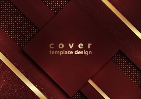 Red geometric shapes on a background of halftones from squares. Inclined stripes and small particles of gold color. Universal template for cover design, business card, flyer. Vector illustration