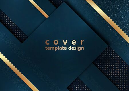 Blue geometric shapes on a background of halftones from squares. Inclined stripes and small particles of gold color. Universal template for cover design, business card, flyer. Vector illustration