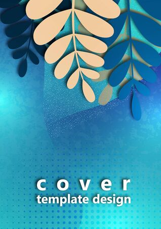 Trendy textured background with beige and blue vibrant gradient plants, leaves, branches. Floral and botanical modern template for posters, banners, invitations, cards. Vector illustration