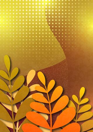 Trendy textured background with yellow and orange vibrant gradient plants, leaves, branches. Floral and botanical modern template for posters, banners, invitations, cards. Vector illustration