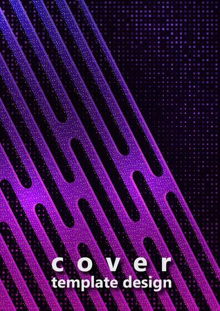 Abstract oblique geometric shapes, stripes, halftone squares on a black background. Bright gradient, small particles. Universal template for cover design, business card, flyer. Vector illustration