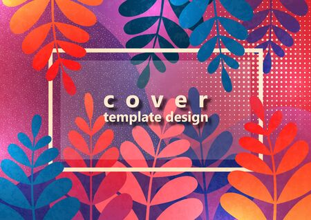 Trendy textured background with violet and pink vibrant gradient plants, leaves, branches. Floral and botanical modern template for posters, banners, invitations, cards. Vector illustration