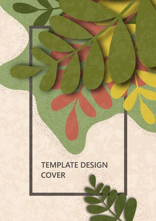 Trendy wavy textured background with colored plants, leaves, branches. Floral and botanical modern template for posters, banners, invitations, cards. Vector illustration Standard-Bild - 139724441