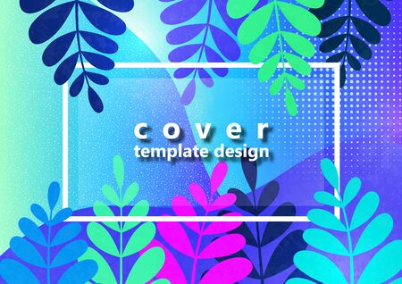 Trendy textured background with vibrant gradient plants, leaves, branches. Floral and botanical modern template for posters, banners, invitations, cards. Vector illustration 向量圖像