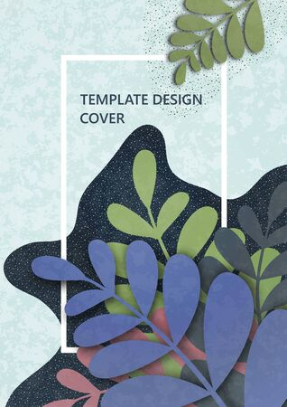 Trendy wavy textured background with colored plants, leaves, branches. Floral and botanical modern template for posters, banners, invitations, cards. Vector illustration