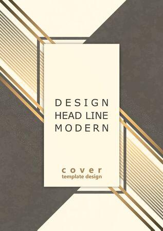 Abstract modern geometric background. Dynamic gold diagonal stripes. Minimal design. Template for brochure, print, advertisement, magazine, poster, magazine, flyer, annual report. Vector corporate design Ilustração