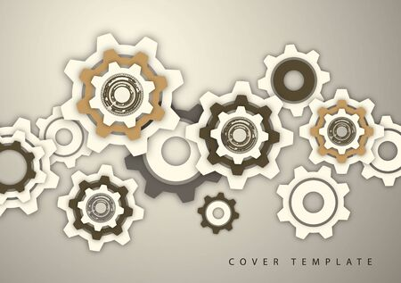 Tech background with colored gears, modern cover template. Place for text. Vector illustration for your design.