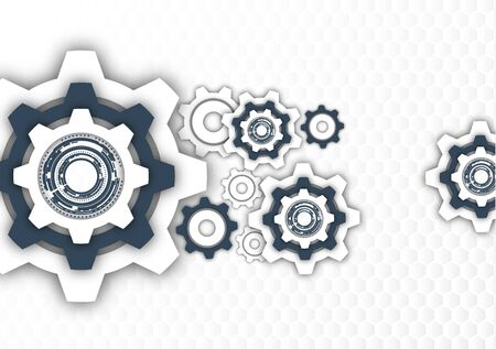 Technological background, gear wheel, modern cover template. The concept of teamwork, ideas, solutions found, part of the mechanism. Vector illustration for your design.