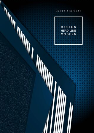Bright abstract technical composition, geometric shapes, overlap, stripes, dots, perforated dark background. Contrasting blue and white colors. Modern template for your corporate design. Vector