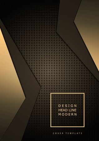 Abstract composition of bright triangles on a dark background from a texture with round perforations. Layering, the effect of light in the center. Template for cover, banner, brochure, business card. Vector.