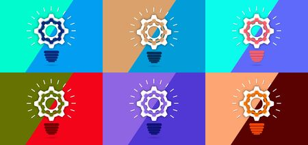 Set. The gear inside the light bulb. Strategy idea symbol icon. design. Creative solutions concept. Vector illustration for your design.