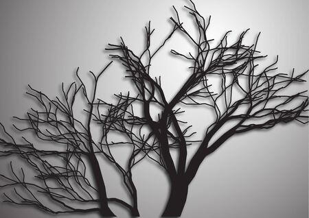 A tree without leaves. Silhouette isolated black on a gray background. Vector illustration for your design. Illustration