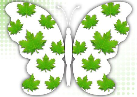 Beautiful abstract background with white butterfly silhouette on a white background with a halftone element. Creative design of the wings, green leaves of maple. Vector illustration