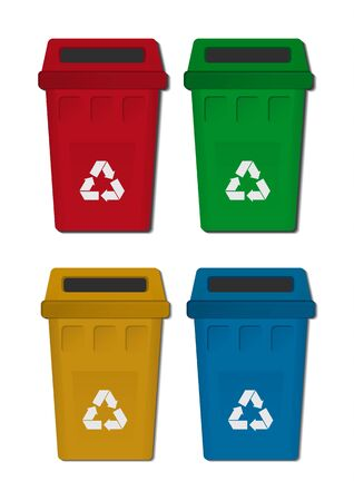 Set of bright trash containers. Separate collection of garbage and waste. The concept of environment, ecology. Icons for your design. Vector illustration.