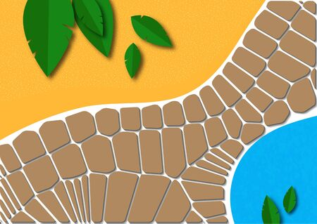Collage with a path made of abstract stone and leaves cut out of paper. Design for poster, cover, postcard, invitation, brochure, flyer. Vector illustration.