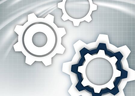 Bright abstract gears on a gray background with a technical grid, light spot effects. Modern corporate cover design, flyer, banner, brochure, wallpaper. Vector illustration Vektoros illusztráció
