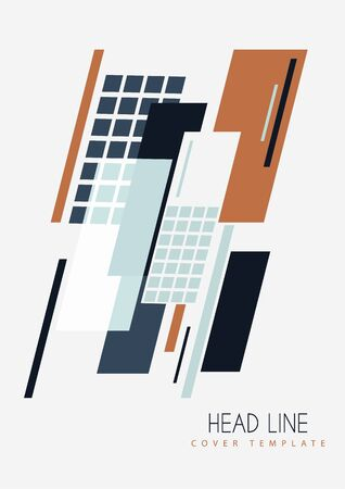 Abstract oblique rectangles and squares on a white background. Universal geometric template for corporate design for cover, business card, flyer, report. Vector illustration