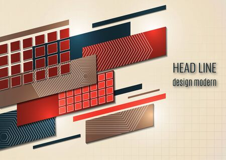 Abstract oblique rectangles and squares on a beige background. Universal geometric template for corporate design for cover, business card, flyer, report. Vector illustration Illustration