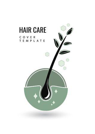 Creative isolated hair follicle icon. Vector hair diagnostic center. The concept of a beauty salon, clinic of help, split ends, hair loss, hair health, shampoo, hairline. 矢量图像