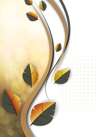 Abstract colored leaves, waves, bright modern background, lens flare. Ecology concept. Vector illustration for your design.