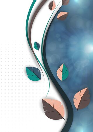 Abstract colored leaves, waves, bright modern background, flare. Ecology concept. Vector illustration for your design. Illusztráció