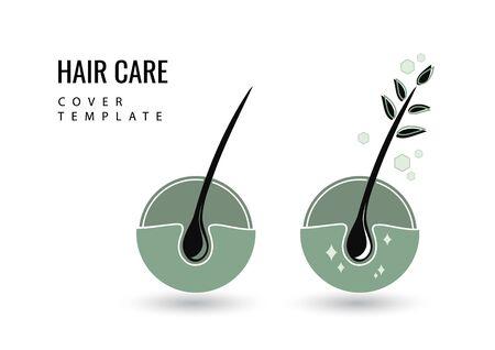 Creative isolated hair follicle icon. Vector logo hair diagnostic center. The concept of a beauty salon, clinic of help, split ends, hair loss, hair health, shampoo, hairline.