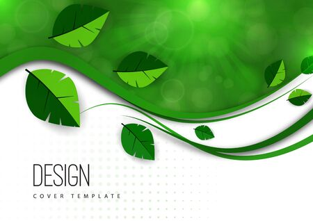 Abstract green leaves, waves, bright modern background, flare. Ecology concept. Vector illustration for your design. Illusztráció