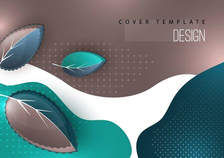 Bright creative leaves on a wavy color background. Modern abstract template for your design. Vector illustration