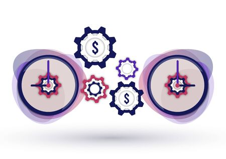 Time management icon. Creative business concept time is money. Dollar, gear, clock. Vector illustration