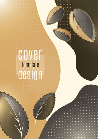 Bright creative leaves on a wavy color background. Modern abstract template for your design. Vector illustration 免版税图像 - 147755820