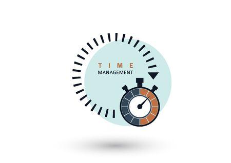 Time management concept. Creative icon for efficiency, productivity. Sign stopwatch. Flat design. Vector illustration Illusztráció