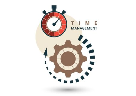 Time management concept. Creative icon for efficiency, productivity. Sign stopwatch, gears. Flat design. Vector illustration