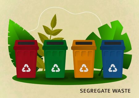 Separate waste collection, bright colored garbage containers for garbage, plants. The concept of the environment, ecology. Design for banner, cover, page site. Vector illustration