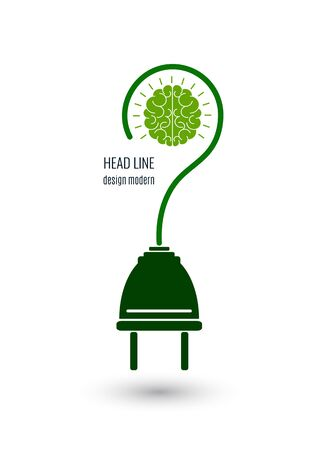 Brain and electric plug. New business idea, smart, creative symbol. Brainstorm. Knowledge, decision, sign of innovation. Vector illustration
