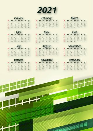 Creative business calendar 2021, 12 months. Bright corporate design, flyer, brochure, advertisement. Vector illustration Stock Illustratie