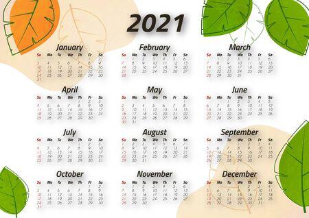 Creative art calendar 2021, 12 months. Bright design, flyer, brochure, advertisement. Vector illustration