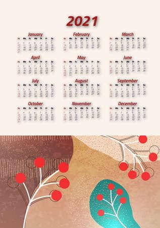 Creative art calendar 2021, 12 months. Bright design, flyer, brochure, advertisement. Vector illustration Stock Illustratie